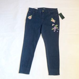 ralph lauren crop 5 pocket denim floral